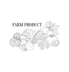 Farm Products Still Life Hand Drawn Realistic vector image vector image