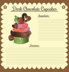 recipe dark chocolate cupcake vector image vector image