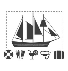 sailboat travel info poster elements vector image vector image