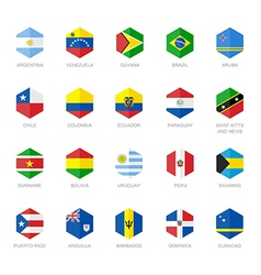 South America and Caribbean Flag Icons Hexagon vector image vector image