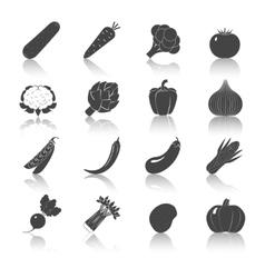 Vegetables Black Icons Set vector image