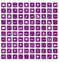 100 athlete icons set grunge purple vector