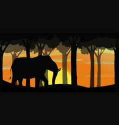 background scene with silhouette elephant in vector image