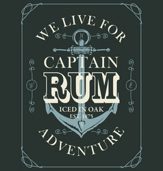 banner or label for rum decorated with anchor vector image