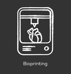 Bioprinting chalk icon artificial heart 3d vector