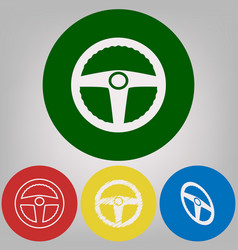 car driver sign 4 white styles of icon at vector image