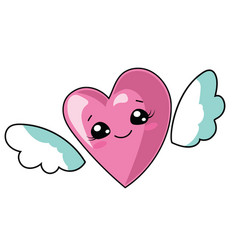 cartoon heart with wings for vector image