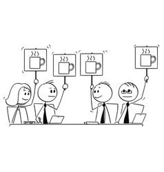 Cartoon of business team or people meeting voting vector