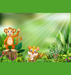 Cartoon of the nature scene with a monkey sitting vector