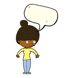 Cartoon woman staring with speech bubble vector