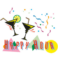 Classic style happy hour cocktail banner vector