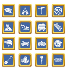 Coal mine icons set blue square vector