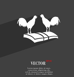 Cock-fights symbol Flat modern web design with vector image