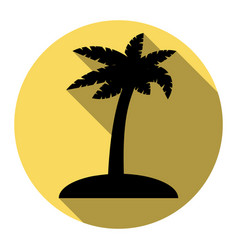 Coconut palm tree sign flat black icon vector