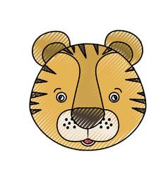 color crayon silhouette caricature face tiger cute vector image