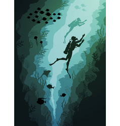 coral reef and underwater divers and fish algae vector image