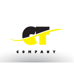 Ct c t black and yellow letter logo with swoosh vector