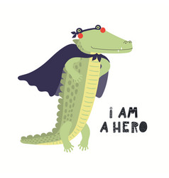 Cute crocodile superhero vector