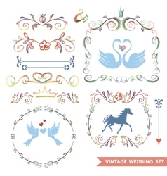 cute retro floral set with wedding iconsdoodle vector image