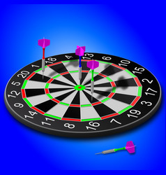 Darts stuck in the board on a blue background vector