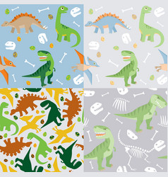 dinosaur seamless pattern set vector image