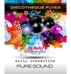 Disco Night Club Flyer layout with Speaker shape vector