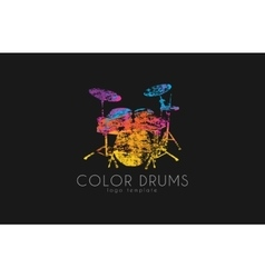 Drums logo Color music logo Music logo Logo in vector image