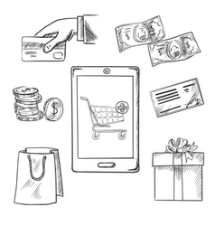 E-commerce and shopping sketch icons vector