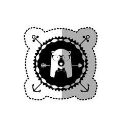 Emblem bear hipster hunter city icon vector