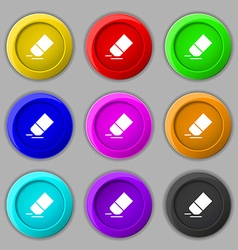 Eraser rubber icon sign symbol on nine round vector image