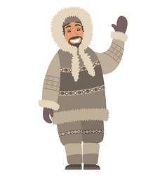 Eskimo man stand and wave hand isolated person vector