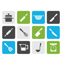 Flat Cooking equipment and tools icons vector