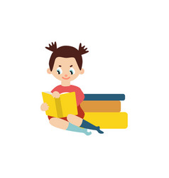 flat girl reading book sitting book pile vector image