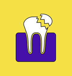 Flat icon design collection broken tooth vector