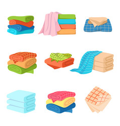 Folded towel soft fashion fabric cotton color vector