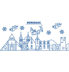 France bordeaux winter city skyline merry vector