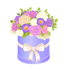 gentle bouquet rose and daisy flowers wrapping vector image