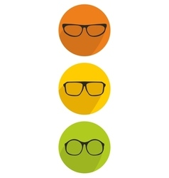 Glasses green yellow and orange icon set vector