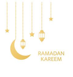 golden lanterns crescent and stars hanging vector image