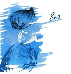 Handdrawn seashells on a watercolor sea background vector