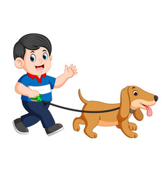 happy boy walking with his dog vector image