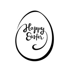 Happy easter hand drown lettering in an egg shape vector