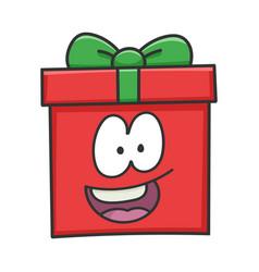 Happy smiling present christmas gift box cartoon vector