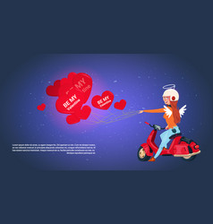 happy valentines day concept woman cupid riding vector image