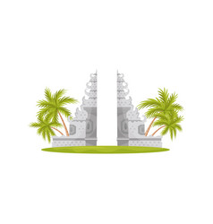 Heaven gates in lempuyang temple green palm trees vector