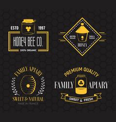 Honey and beekeeping vintage logo set vector