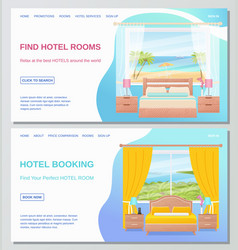 hotel room bedroom interior vector image