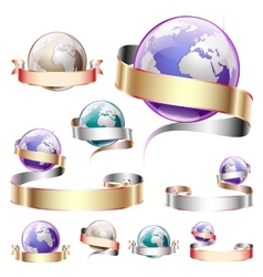 Icons planets with ribbon vector image
