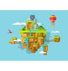 Imaginary soaring island on a blue sky background vector