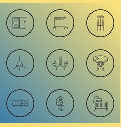 interior icons line style set with sideboard vector image